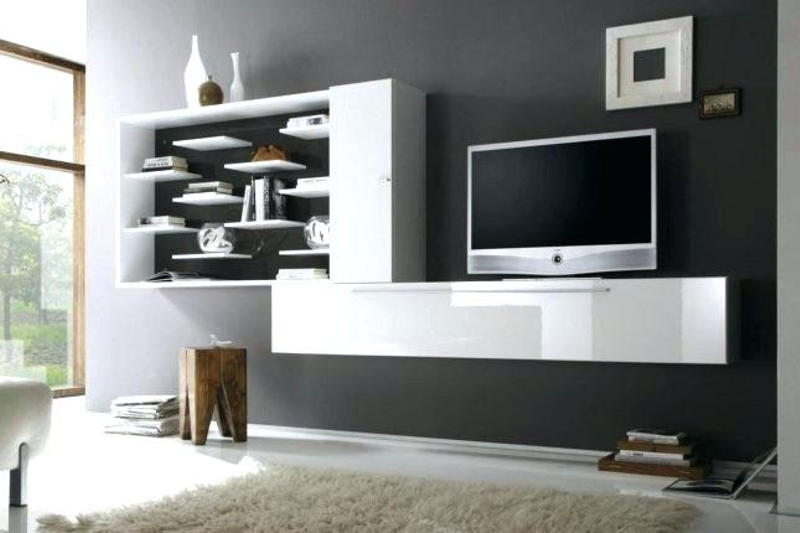 Tv Shelf Unit Furniture White Floating Stand With Media